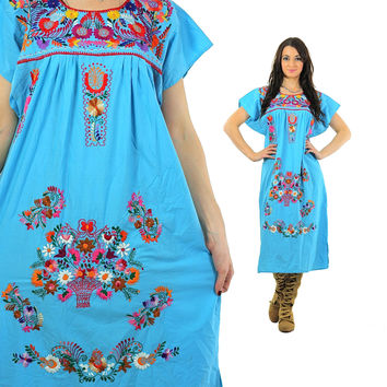 Embroidered Mexican Dress Hippie Boho Oaxacan Midi 70s Ethnic Bohemian Floral Tunic Traditional Tent Turquoise Festival Large