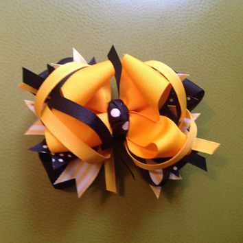 Cheerleader stacked over the top hair bow Barrett clip headband birthday girl accessory yellow black teen girl tween toddler high fashion
