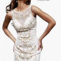 Sherri Hill 9723 - Ivory Lace Illusion Homecoming Dresses Online