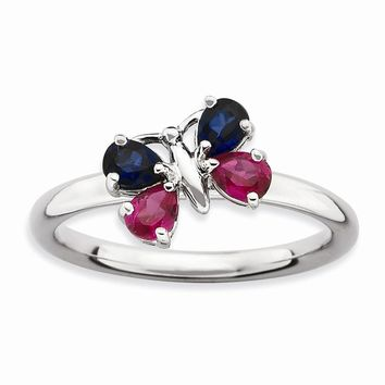 Sterling Silver Stackable Expressions Cr Ruby & Cr Sapphire Butterfly Ring