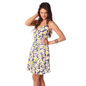 White midi skater dress with floral print