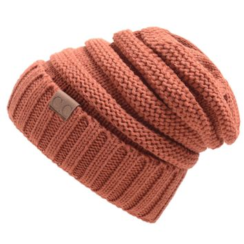 CC labeling men and women knitted wool hat cap headdress stylish warm hat Rust red