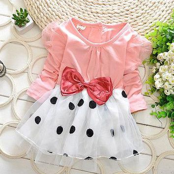 Fashion Cute Baby Girls Princess Party Long sleeve Bowknot Dot Dress 6M~5Y O neck Cotton + Organza Tulle