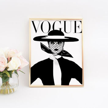 PARIS FASHION Vogue Cover Fashion Decor High Fashion Girls Room Decor Vogue Poster Vogue Print Fashionista Fashion Poster Vogue art