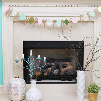Easter Garland Happy Easter Banner Decoration Spring Bunting Egg Hunt Party Supplies Pastel Pink Mint Green Gold Metallic Kraft Paper Decor