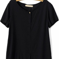 Black Short Sleeve Cross Back Blouse