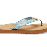 TOMS TOMS Blue White Braid Women's Solana Flip-Flops Blue