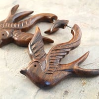 Sparrow Fake Gauge Earrings Faux Plugs Tapers Organic Carved Wood