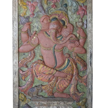 Antique Vintage LUXE Dramatic Barn Door Hand Carved Ganesha Muladhara Chakra Success, New Beginnings Rustic Wall Decor