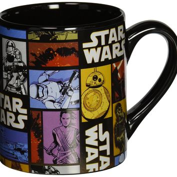 Star Wars Silver Buffalo SE0632 Disney Star Wars Ep7 Grid Ceramic Mug, 14 oz, Multicolor
