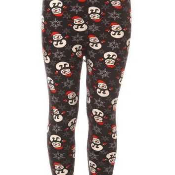 Kid's Snowman with Red Hat Glove Pattern Printed Leggings