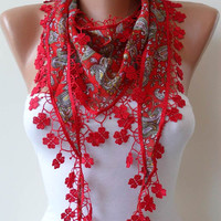 Red Shawl / Scarf with Lace Edge NEW by SwedishShop on Etsy