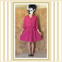 Vintage 80s Shirt Dress - Polka Dot Midi Dress - Mid Length Pink and Black Polka Dot Dress by Leslie Fay