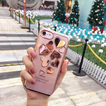 South Korea 3D Plating LOVE Heart Case for iPhone7 7plus Silver Rose Gold Coques for iPhone 6 6s 6plus 6splus Clear Cover -0318