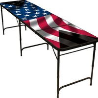 American Flag Beer Pong Table 8ft - Premium HD Design - Black Aluminum with Ball Rack & 6 Pong Balls!