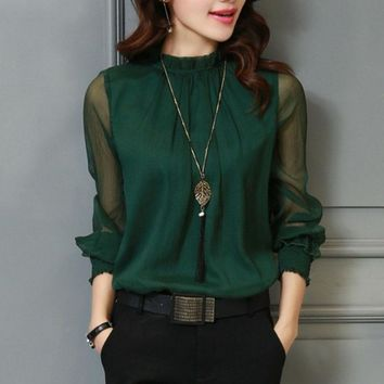 3XL Female Spring Summer Lace Chiffon Shirt Plus Size Blouse Fashion Stand Neck Shirts Transparent Long Sleeve Blouses Top Green