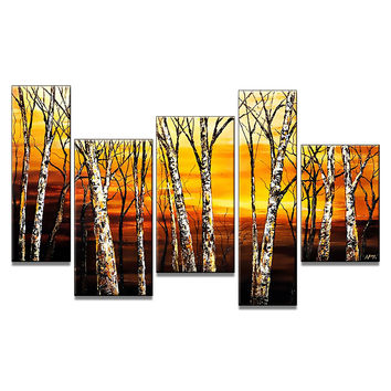 Golden Trees Landscape Canvas Wall Art Oil Painting