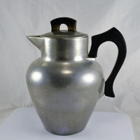 Aluminum Coffee Pot CLUB Art Deco Wood Handle Vintage VTG Heavy Country Kitchen Camping Cabin Lodge
