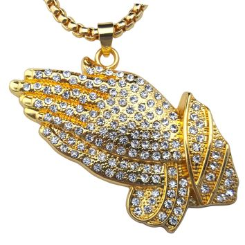 Hip Hop Style Praying Hands Bless Up Iced Out with Box Chain Necklace (18k Gold Plated )