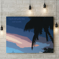 Canvas Wall Art with Frame Modern Style Digital Painting - Tropical Sunset and Palm Trees