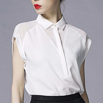 Chiffon Elegant Collar White Shirt