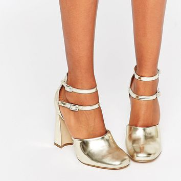 Lost Ink Dancer Double Ankle Strap Block Heeled Shoes
