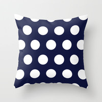 Navy Dots Throw Pillow by Ashley Hillman