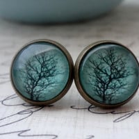 ENTIRE SHOP 25 OFF Sale Aqua Tree Post Earrings by WearitoutJewelz