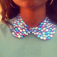 Rhinestone Peter Pan Collar Necklace: Lavender and Blue