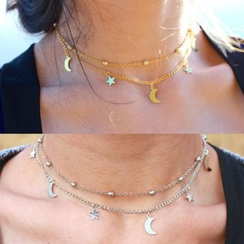 2 Layer Star Moon Choker Necklace For Women Bead Chocker collier ras du cou Tassel Charm pendant Necklace Jewelry