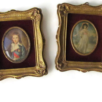 Small Victorian Framed Portraits Gold Ornate Frame