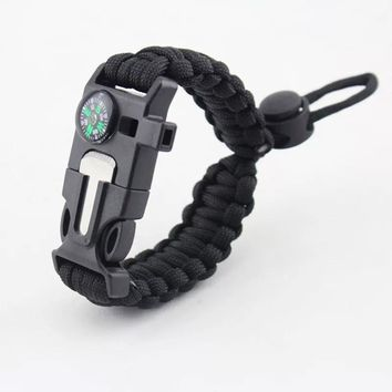 Outdoor Survival Braided Bracelet Men Women Paracord Bracelet Camping Rescue Emergency Rope Bangles Compass Whistle Knife 4 in 1