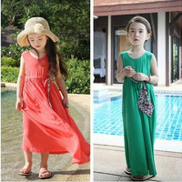 Children's Dresses 2015 Summer Retro Bohemia Girls beach dress Modal children dress.