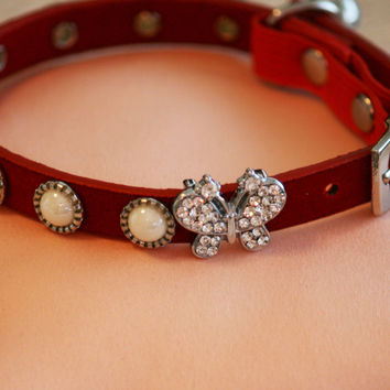 Beaded Dog Collar, Pearl Dog collar, Cute Red Collar with Cute Small Butterfly, Small Dog. Love Red, Cat Collar