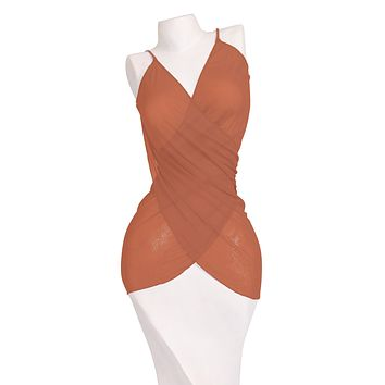 Multi-Function Suntan Orange Pareo Mesh Sarong Dress Skirt Cover-Up Thaikila by Blue Glue