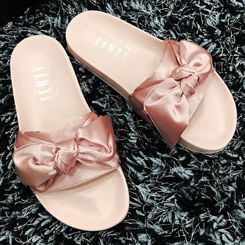 Puma X Fenty Bandana Slide Solid Color Bow Sandals Shoes