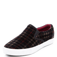 Teens Red Tartan Check Slip On Plimsolls