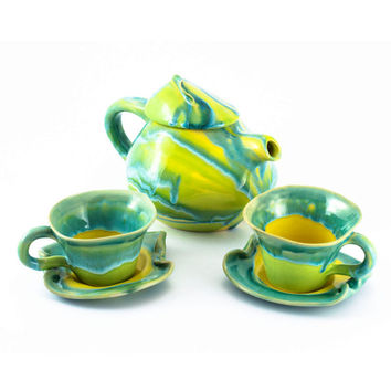 Set pot cups coffee tea ceramic stoneware pottery set cups- unique handmade created with love to enamel colours - two cups and teapot 1L