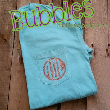 Comfort Color Pocket T Shirt with FREE Glitter Vinyl Monogram lagoon blue lavendar