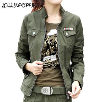 Women Military Style Cargo Jacket Army Green Jackets Stand Collar 100% Cotton Army Jacket 2018 Spring Ladies Casual  Jacket