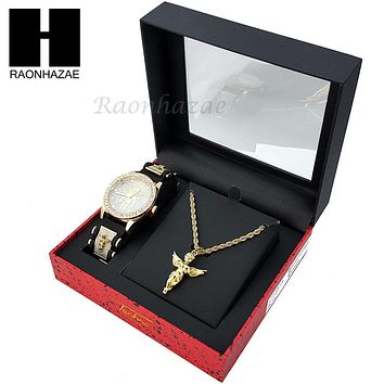 MEN TECHNO PAVE WATCH & ANGEL PENDANT ROPE CHAIN NECKLACE GIFT SET SS76