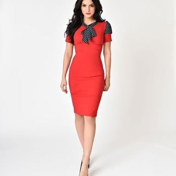 Vintage Style Red & Polka Dot Contrast Bow Wiggle Dress