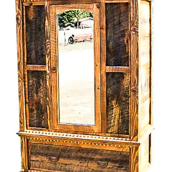 Rustic Mirrored Door Armoire Country Roads Collection