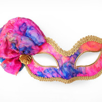 Pink, Blue And Gold Masquerade Mask  -  Venetian Style Prom Mask With Gold Fabric Rose