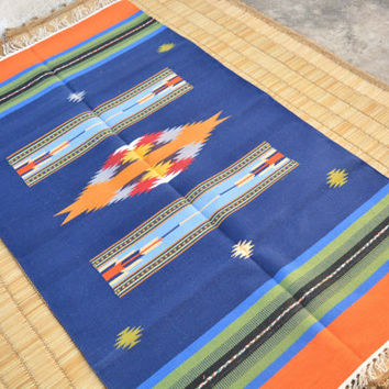Something Blue Kilim Rug, area rug 3x5 100% cotton interlock housewarming gift, meditation rug, yoga matt outdoor rugs, moroccan rug pattern