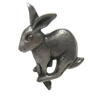 Silver Toned Textured Leaping Rabbit Hare Adjustable Size Fashion Ring