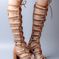 Rome Chunky Heel Lace Up Sandalias Mujer With Zipper Summer Shoes Woman Cut Out Knee High Gladiator Sandals Women Botas Peep Toe