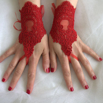 red, lace wedding gloves, prom dress gloves,costume gloves,halloween gloves, free shipping!