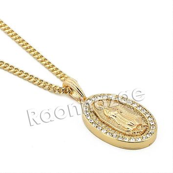 """Mens Iced Out Bling Guadalupe Pendant w/ 5mm 24"""" 30"""" Cuban Brass Chain A05G"""