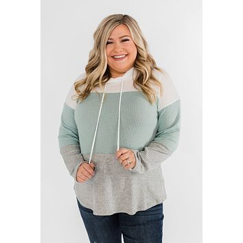 See Where It Goes Color Block Hoodie- Soft Mint & Grey